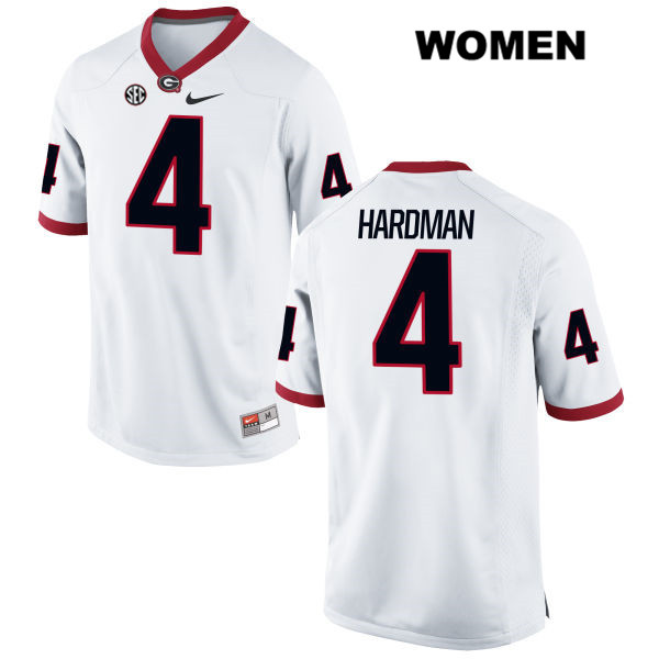 Womens Stitched Georgia Bulldogs White Nike Mecole Hardman Authentic no. 4 College Football Jersey - Mecole Hardman Jersey