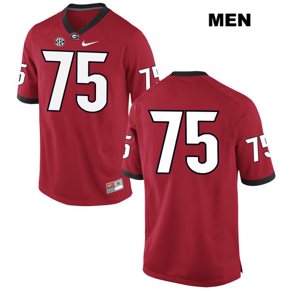 Mens Nike Stitched Georgia Bulldogs Red Owen Condon Authentic no. 75 College Football Jersey - No Name - Owen Condon Jersey