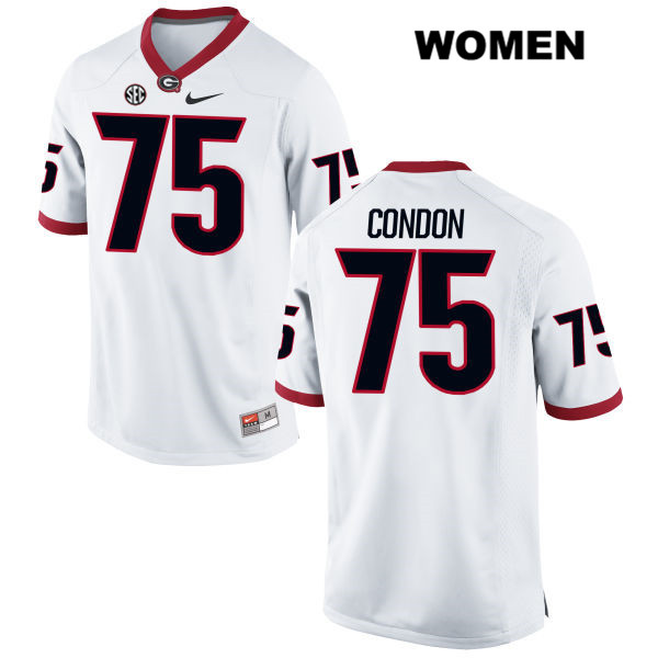 Womens Georgia Bulldogs White Nike Owen Condon Stitched Authentic no. 75 College Football Jersey - Owen Condon Jersey