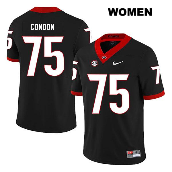 Womens Legend Georgia Bulldogs Black Nike Owen Condon Authentic Stitched no. 75 College Football Jersey - Owen Condon Jersey