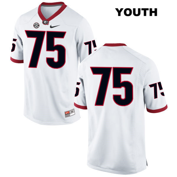 Youth Stitched Georgia Bulldogs White Owen Condon Authentic Nike no. 75 College Football Jersey - No Name - Owen Condon Jersey