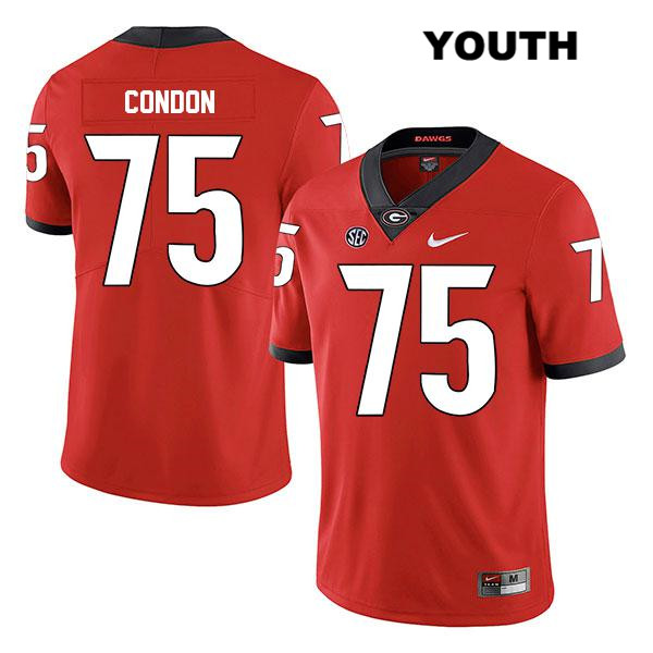 Youth Georgia Bulldogs Legend Red Stitched Owen Condon Authentic Nike no. 75 College Football Jersey - Owen Condon Jersey