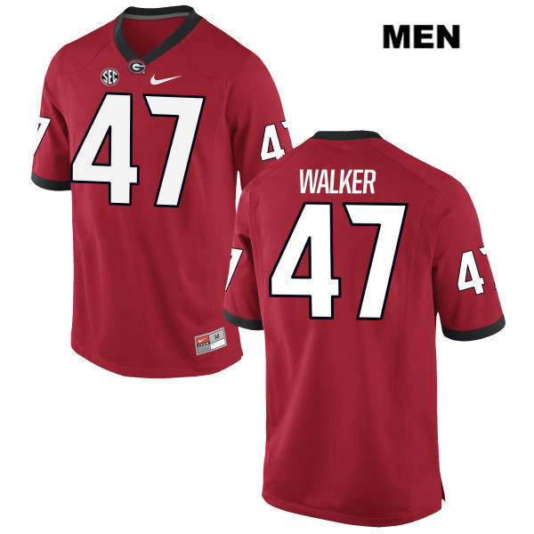 Mens Georgia Bulldogs Red Payne Walker Authentic Stitched Nike no. 47 College Football Jersey - Payne Walker Jersey