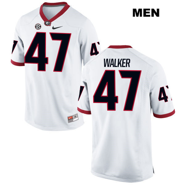 Mens Georgia Bulldogs White Stitched Payne Walker Nike Authentic no. 47 College Football Jersey - Payne Walker Jersey