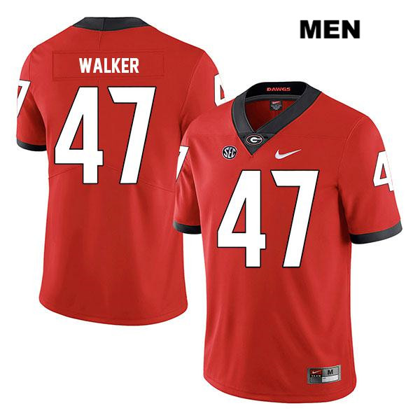 Legend Mens Georgia Bulldogs Red Stitched Payne Walker Authentic Nike no. 47 College Football Jersey - Payne Walker Jersey