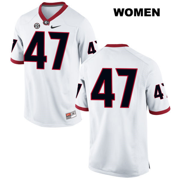 Womens Stitched Georgia Bulldogs White Payne Walker Authentic Nike no. 47 College Football Jersey - No Name - Payne Walker Jersey