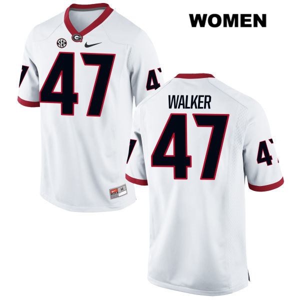 Womens Georgia Bulldogs Stitched White Payne Walker Authentic Nike no. 47 College Football Jersey - Payne Walker Jersey