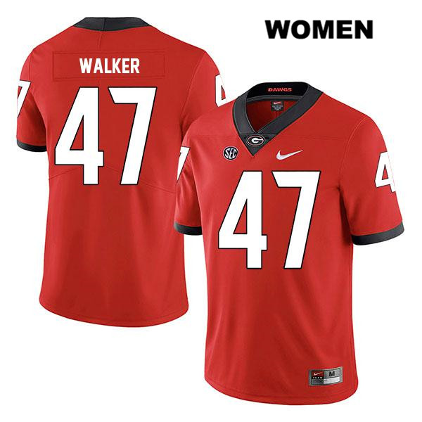Womens Legend Georgia Bulldogs Nike Red Stitched Payne Walker Authentic no. 47 College Football Jersey - Payne Walker Jersey
