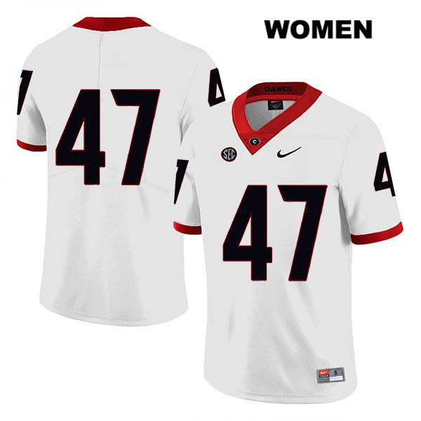 Womens Stitched Georgia Bulldogs Nike White Payne Walker Legend Authentic no. 47 College Football Jersey - No Name - Payne Walker Jersey