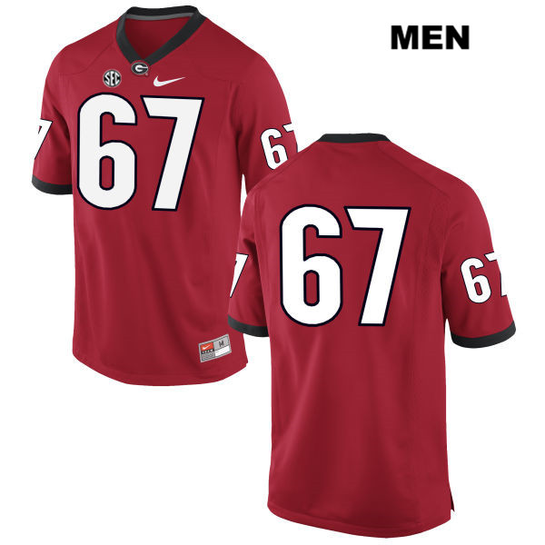 Nike Mens Georgia Bulldogs Red Stitched Sam Madden Authentic no. 67 College Football Jersey - No Name - Sam Madden Jersey