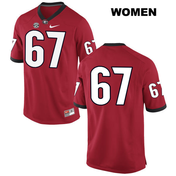 Womens Georgia Bulldogs Stitched Red Sam Madden Authentic Nike no. 67 College Football Jersey - No Name - Sam Madden Jersey
