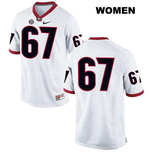 Nike Womens Georgia Bulldogs White Stitched Sam Madden Authentic no. 67 College Football Jersey - No Name - Sam Madden Jersey