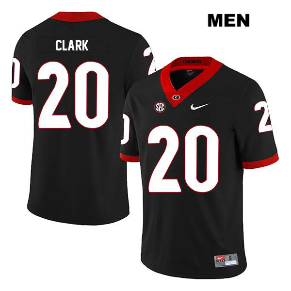 Stitched Mens Georgia Bulldogs Legend Black Sevaughn Clark Nike Authentic no. 20 College Football Jersey - Sevaughn Clark Jersey