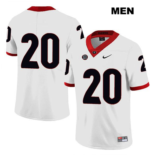 Mens Georgia Bulldogs White Nike Sevaughn Clark Stitched Authentic Legend no. 20 College Football Jersey - No Name - Sevaughn Clark Jersey