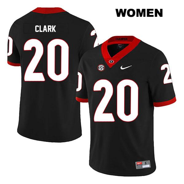 Womens Georgia Bulldogs Legend Black Stitched Nike Sevaughn Clark Authentic no. 20 College Football Jersey - Sevaughn Clark Jersey