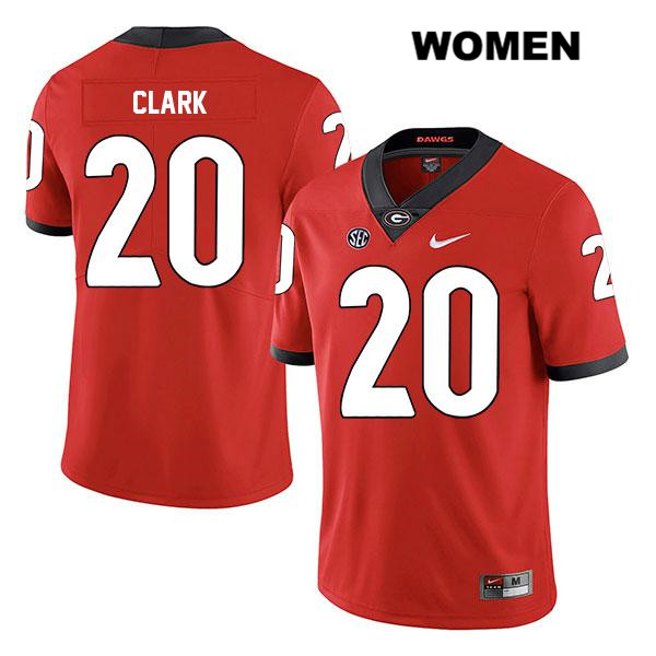 Womens Stitched Georgia Bulldogs Red Nike Sevaughn Clark Legend Authentic no. 20 College Football Jersey - Sevaughn Clark Jersey
