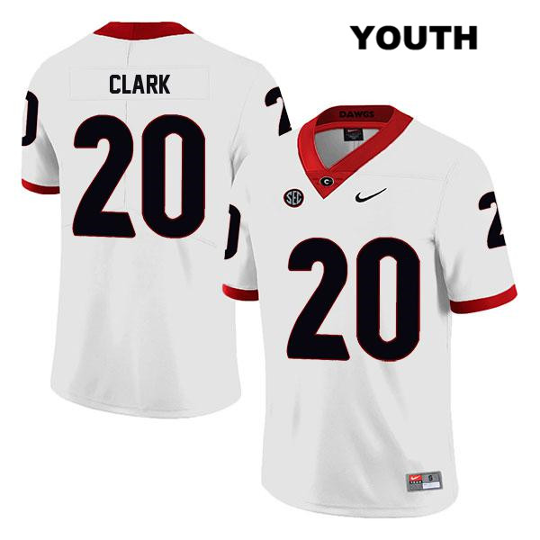 Youth Stitched Georgia Bulldogs White Legend Sevaughn Clark Authentic Nike no. 20 College Football Jersey - Sevaughn Clark Jersey