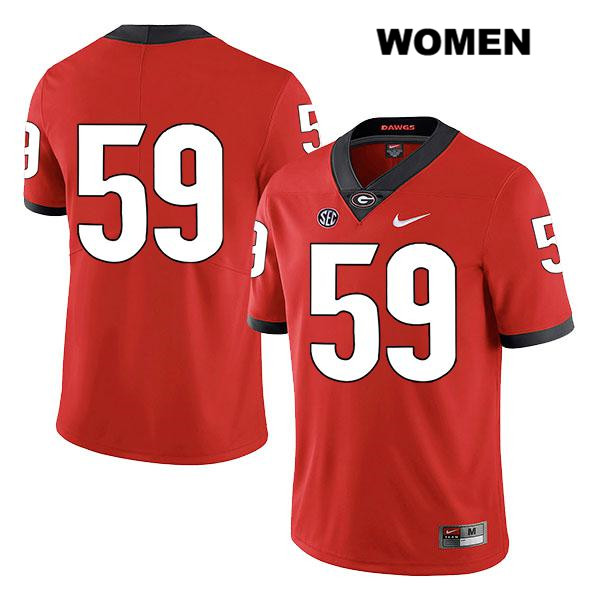 Womens Stitched Georgia Bulldogs Red Steven Nixon Nike Authentic Legend no. 59 College Football Jersey - No Name - Steven Nixon Jersey