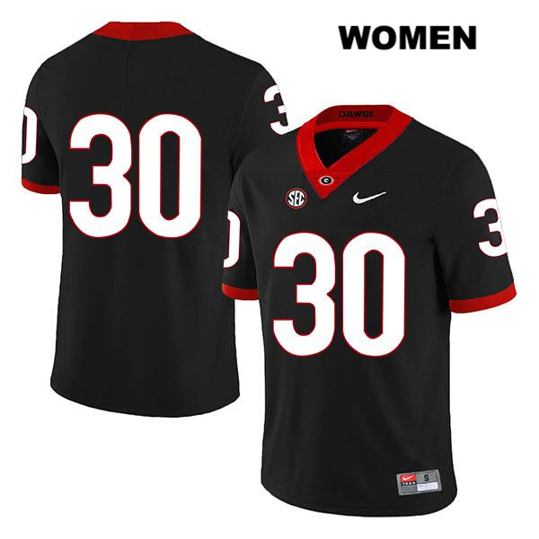 Womens Georgia Bulldogs Black Legend Tae Crowder Nike Authentic Stitched no. 30 College Football Jersey - No Name