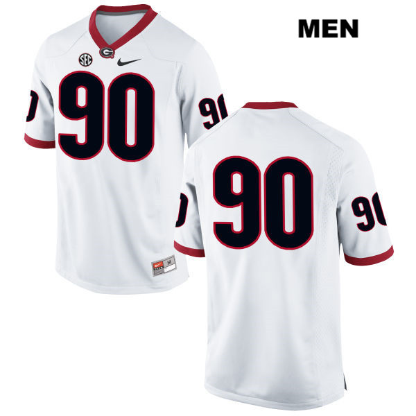 Mens Stitched Georgia Bulldogs White Tanner Stumpe Nike Authentic no. 90 College Football Jersey - No Name - Tanner Stumpe Jersey