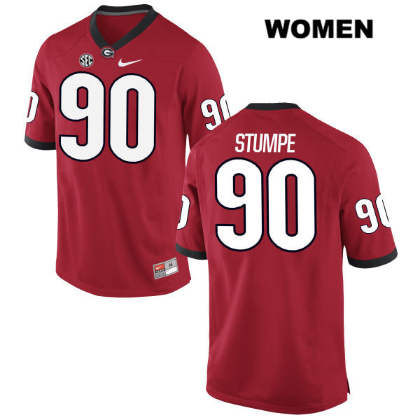 Womens Stitched Georgia Bulldogs Red Nike Tanner Stumpe Authentic no. 90 College Football Jersey - Tanner Stumpe Jersey