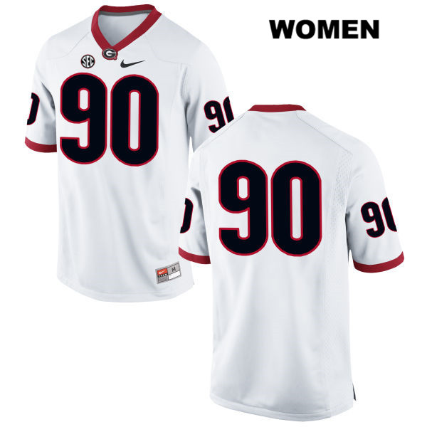 Womens Georgia Bulldogs Stitched White Tanner Stumpe Nike Authentic no. 90 College Football Jersey - No Name - Tanner Stumpe Jersey