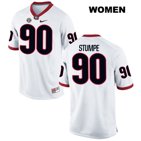 Womens Georgia Bulldogs White Tanner Stumpe Nike Authentic Stitched no. 90 College Football Jersey - Tanner Stumpe Jersey