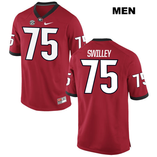 Mens Georgia Bulldogs Red Thomas Swilley Stitched Authentic Nike no. 75 College Football Jersey - Thomas Swilley Jersey