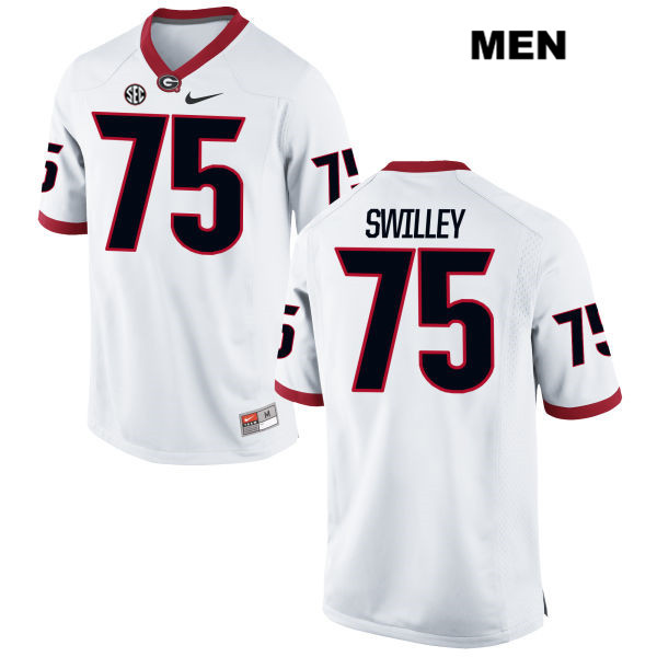 Mens Georgia Bulldogs White Thomas Swilley Nike Authentic Stitched no. 75 College Football Jersey - Thomas Swilley Jersey