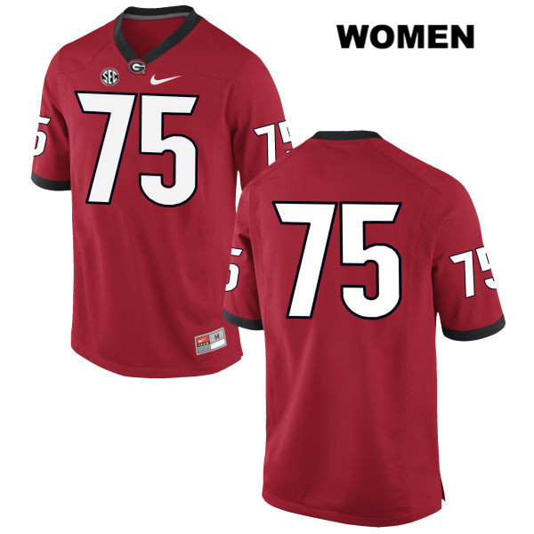 Womens Nike Georgia Bulldogs Stitched Red Thomas Swilley Authentic no. 75 College Football Jersey - No Name - Thomas Swilley Jersey