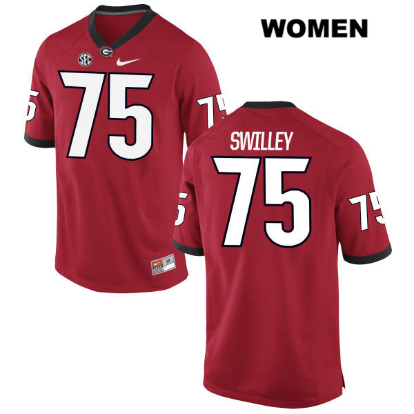 Womens Nike Georgia Bulldogs Red Stitched Thomas Swilley Authentic no. 75 College Football Jersey - Thomas Swilley Jersey