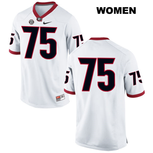 Nike Womens Stitched Georgia Bulldogs White Thomas Swilley Authentic no. 75 College Football Jersey - No Name - Thomas Swilley Jersey