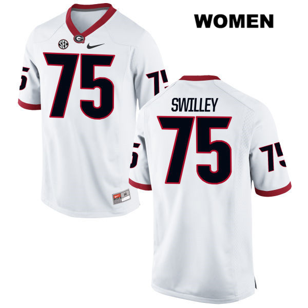 Nike Womens Georgia Bulldogs White Thomas Swilley Stitched Authentic no. 75 College Football Jersey - Thomas Swilley Jersey