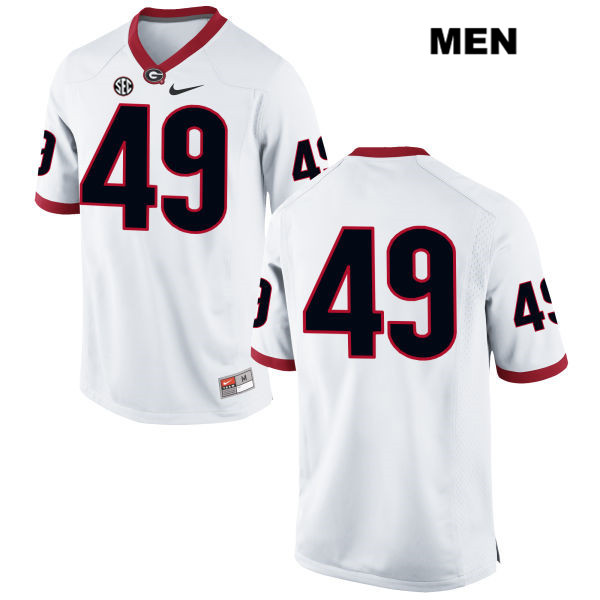 Mens Nike Georgia Bulldogs White Turner Fortin Authentic Stitched no. 49 College Football Jersey - No Name - Turner Fortin Jersey