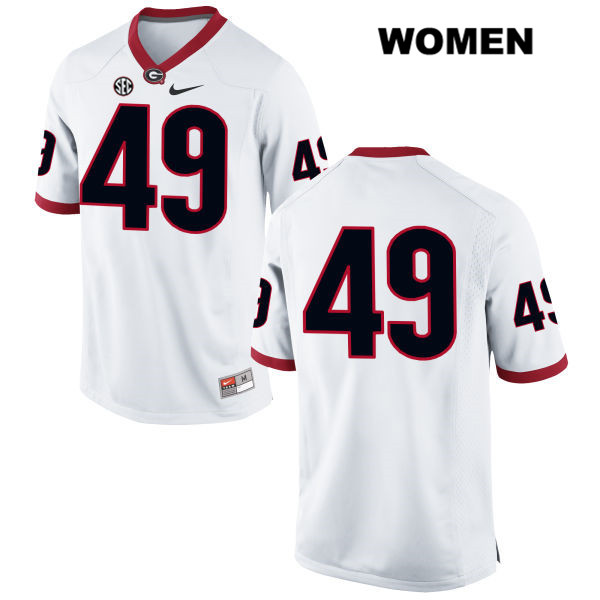 Womens Georgia Bulldogs Stitched White Nike Turner Fortin Authentic no. 49 College Football Jersey - No Name - Turner Fortin Jersey