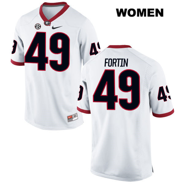 Womens Georgia Bulldogs Nike White Turner Fortin Stitched Authentic no. 49 College Football Jersey - Turner Fortin Jersey