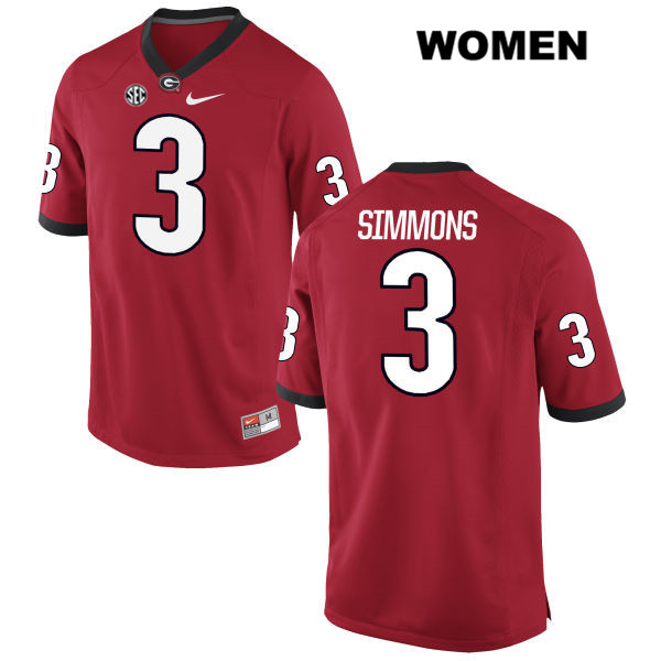 Womens Georgia Bulldogs Nike Red Tyler Simmons Authentic Stitched no. 3 College Football Jersey - Tyler Simmons Jersey