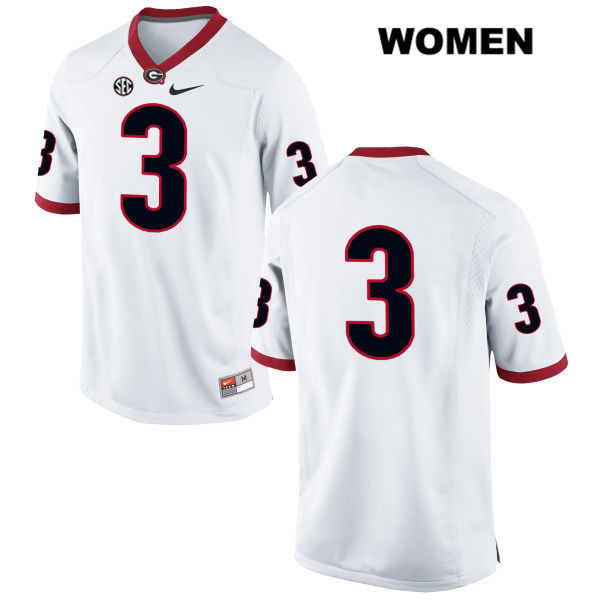Womens Georgia Bulldogs Nike White Stitched Tyler Simmons Authentic no. 3 College Football Jersey - No Name - Tyler Simmons Jersey