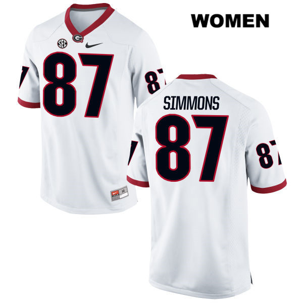 Nike Womens Georgia Bulldogs White Stitched Tyler Simmons Authentic no. 87 College Football Jersey - Tyler Simmons Jersey