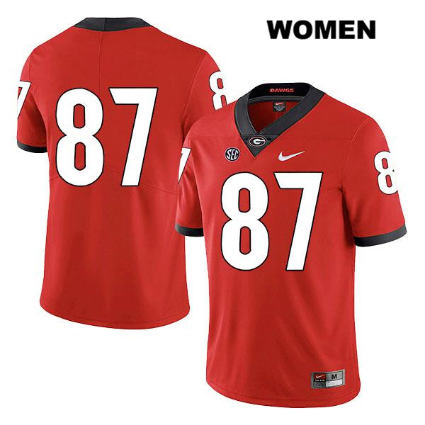 Stitched Womens Georgia Bulldogs Red Legend Tyler Simmons Authentic Nike no. 87 College Football Jersey - No Name - Tyler Simmons Jersey