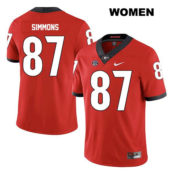 Womens Stitched Georgia Bulldogs Red Tyler Simmons Nike Authentic Legend no. 87 College Football Jersey - Tyler Simmons Jersey