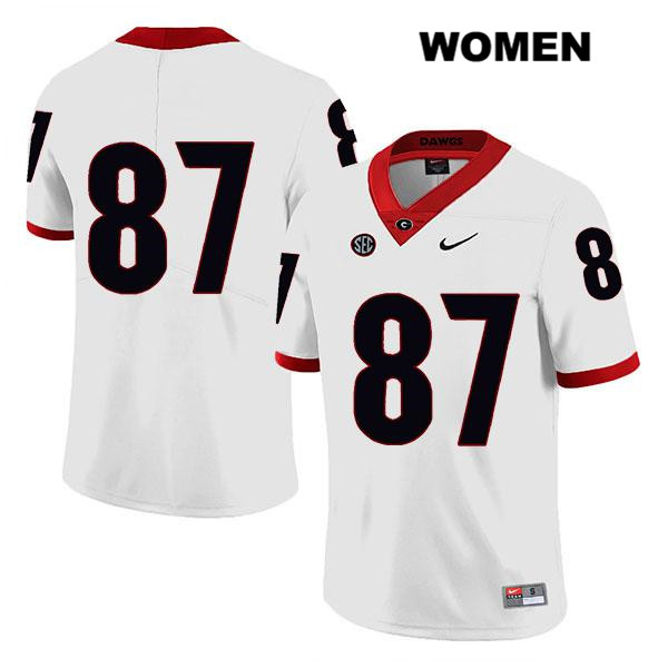 Stitched Womens Georgia Bulldogs Nike White Tyler Simmons Legend Authentic no. 87 College Football Jersey - No Name - Tyler Simmons Jersey