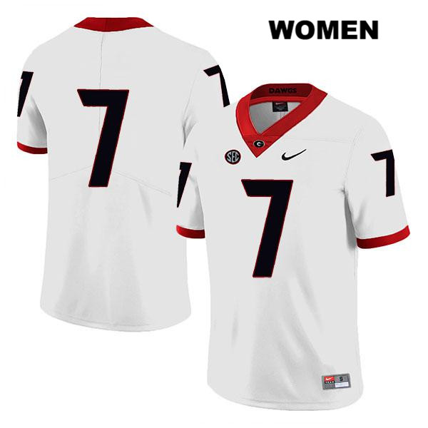 Womens Nike Georgia Bulldogs White Legend Tyrique Stevenson Authentic Stitched no. 7 College Football Jersey - No Name - Tyrique Stevenson Jersey