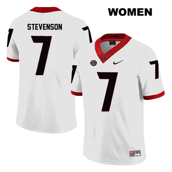 Stitched Womens Georgia Bulldogs Legend White Tyrique Stevenson Authentic Nike no. 7 College Football Jersey - Tyrique Stevenson Jersey