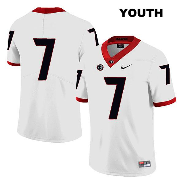 Youth Georgia Bulldogs White Legend Tyrique Stevenson Stitched Authentic Nike no. 7 College Football Jersey - No Name - Tyrique Stevenson Jersey