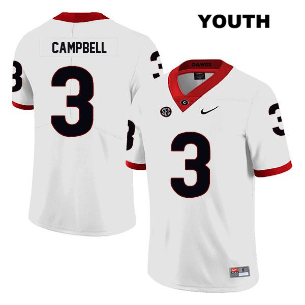 Youth Georgia Bulldogs White Tyson Campbell Stitched Nike Authentic Legend no. 3 College Football Jersey